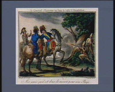 Le  <em>Général</em> <em>Marceau</em> tué dans le defilé d'Altenkirer mes amis ! qu'il est doux de mourir pour son pays. Le 3.eme jour complementaire an 4.e (19 7.bre 1795 [i.e. <em>1796</em>] v.s.) : [estampe]