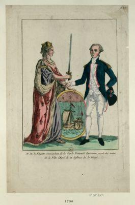 Mr de <em>la</em> <em>Fayette</em> commandant de <em>la</em> Garde <em>nationale</em> parisienne, reçoit des mains de <em>la</em> Ville l'epée de <em>la</em> deffense de <em>la</em> liberté [estampe]