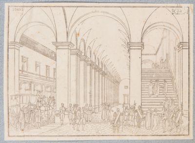 Palazzo del Quirinale. Interno, veduta del portico del cortile e della scala