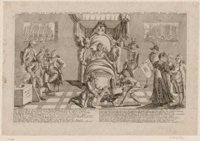 Consilium medicum tenu à cause du corps d'état Francois malade [estampe]