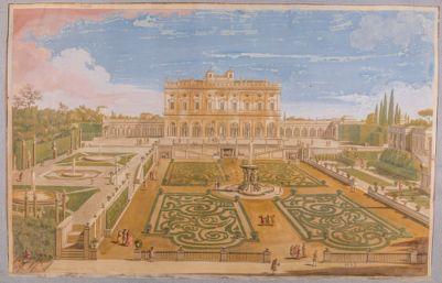 Giardino e prospetto del casino di Villa Albani, veduta