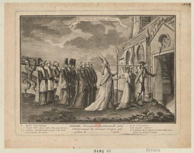 Derniere procession constitutionelle pour l'enterrement du serment civique qui se fera le [...] <em>1792</em> qui rit vendredi dimanche pleurera : [estampe]