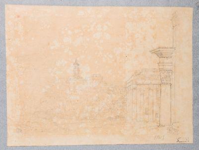 Tempio di Antonino e Faustina, scorcio di pronao