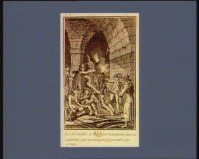 Le 1 4 juillet ; le peuple se transporte dans un souterrain aux Invalides pour <em>y</em> prendre des armes [estampe]