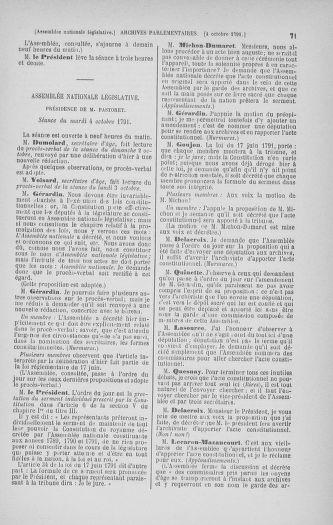 Tome 34 : Du 1er octobre au 10 novembre 1791 - page 71