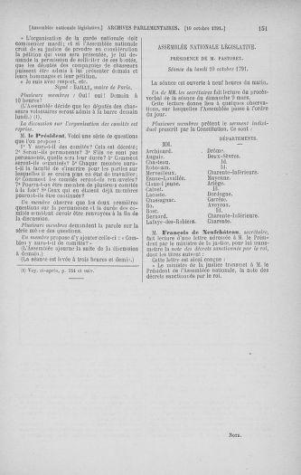 Tome 34 : Du 1er octobre au 10 novembre 1791 - page 151