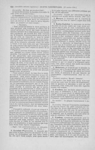 Tome 34 : Du 1er octobre au 10 novembre 1791 - page 258