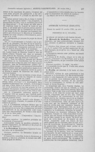 Tome 34 : Du 1er octobre au 10 novembre 1791 - page 407