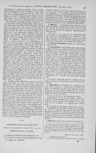 Tome 34 : Du 1er octobre au 10 novembre 1791 - page 433
