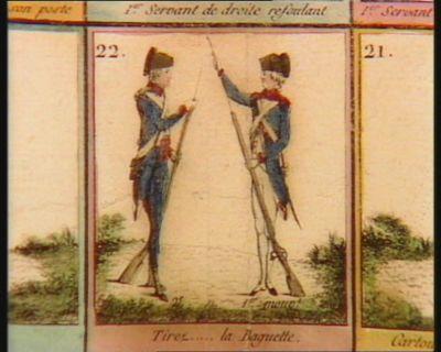 Jeu des <em>exercices</em> <em>militaires</em> de l'infanterie française et des manoeuvres du canon présente au Comité <em>militaire</em>, à celui d'instruction et à l'Assemblée nationale : [estampe]