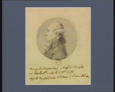 Denis le Maréchal Negt à Rugles né dans la d.te ville le 2 7.er [sic] 1755 deputé du Bailliage d'Evreux à l'assemblée [...] : [dessin]