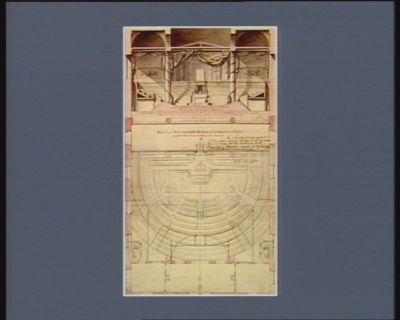 Plan d'une salle d'assemblée des amis de la liberté et de l'égalité projettée dans l'ancienne église des Jésuites Coupe et élévation de la salle en face du bureau du président... : [dessin]