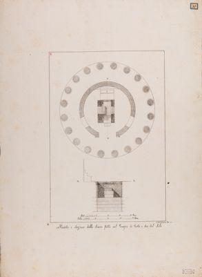 Tempio cosidetto di Vesta, pianta e sezione dell'interno della cella