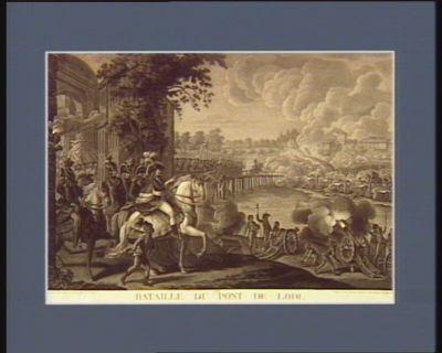 Bataille du pont de Lodi dédié à l'armée d'Italie. Le 21 floréal an 4 le général Bonaparte ayant appris que les ennemis se disposoient à défendre les approches de Lodi... : [estampe]