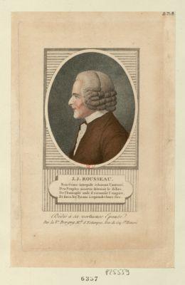 J.J. <em>Rousseau</em> son génie intrépide éclairant l'univers des peuples asservis détruisit le délire... : dédié à sa vertueuse épouse : [estampe]