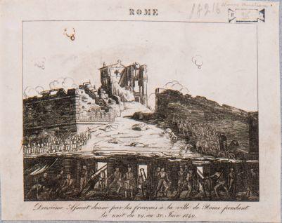 Porta S. Pancrazio. Breccia del 30 giugno 1849, in fondo il Casino Malvasia