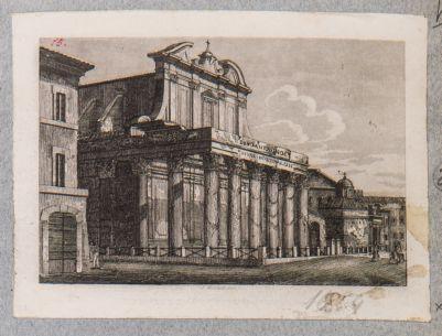 Tempio di Antonino e Faustina, prospetto di scorcio sul Foro