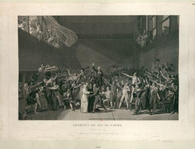 Serment du <em>Jeu</em> <em>de</em> <em>Paume</em> Versailles <em>20</em> juin <em>1789</em>, formation des 3 ordres en Assemblé [sic] nationale (historique) : [estampe]