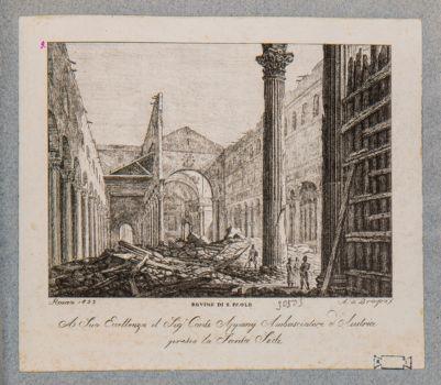 Chiesa di S. Paolo fuori le Mura, interno dopo l'incendio