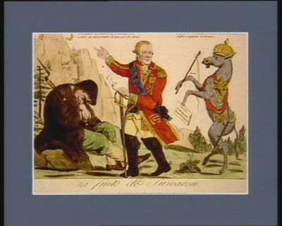 La  Fuite de Suwarow m'ordonner de vaincre les Français c'est vouloir me faire prendre la <em>lune</em> avec les dents... : [estampe]