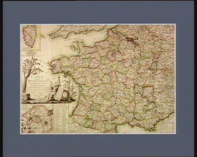 Carte de la République française suivant la nouvelle division en [...] départements et leurs districts, avec toutes les routes cette carte est utile pour trouver la position des armées sur les frontières... : [estampe]