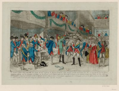 Le  Samedi 3 octobre <em>1789</em> a Versailles les Gardes du corps regalerents les regiments de Flandres Suisses Dragons et Gardes de la nation &c. &c [estampe]