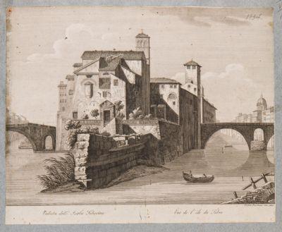 Isola Tiberina vista da oriente con i due ponti di accesso