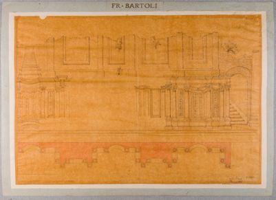 Palatino, Orti Farnesiani, pianta e prospetto architettonico di un corpo di accesso