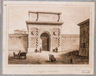 Porta S. Pancrazio, prospetto secondo la ricostruzione di Pio IX