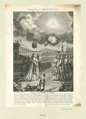 Epoque de la liberté françoise Louis XVI conduit par M. Necker sous les médaillons d'Henri IV et Sully, dans le chemin de la gloire, vers les trois ordres réunis et d'accord sous la règle de la Justice... : [estampe]