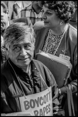 Cesar Chavez delivers boycott petitions to Safeway headquarters during the grape boycott