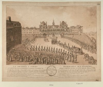La  Journée a jamais memorable au François ou Louis XVI restaurateur de la liberté françoise se rendit à l'Hotel de Ville le 17 du mois de juillet 1789 : M. Bailly, maire de la ville de Paris se rendit à la barrière de la Conférence... : [estampe]