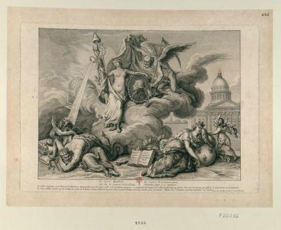 Ici repose Mirabeau, Qui fut le sauveur de la France, Le respect la reconnaissance, Viennent gémir a ce tombeau la Vérité appuiée sur le portrait de Mirabeau... : [estampe]