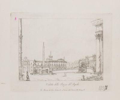Piazza del Popolo, veduta verso la porta
