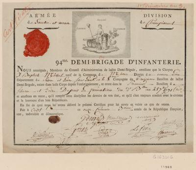 Liberté Egalité Fraternité 94.me demi-brigade d'infanterie : [estampe]