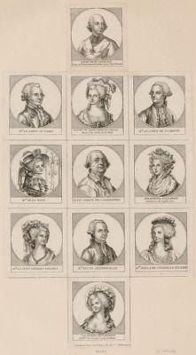 """[Planche de portraits de personnages mêlés à <em>l</em>'""""Affaire du Collier de la Reine""""] [estampe]"""