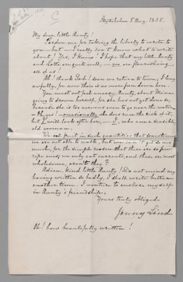 Jenny Lind letter to Tante, 1835 August 5 (English translation)
