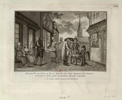 Messieurs Pe...on Derue et Bri..ot tous les trois bons bourgeois de Chartres arrivant a Paris pour le bonheur de cette capitale [estampe]
