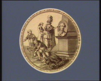 La  Sagesse montrant aux Français le portrait de M. Necker les abus du clergé de la robe & de la finance sont effrayés, un hom[m]e du Tiers le voit avec veneration : [estampe]
