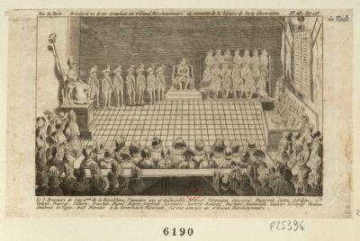 Brissot et 20 de ses complices au tribunal révolutionnaire au moment de la lecture de l'acte d'accusation [estampe]