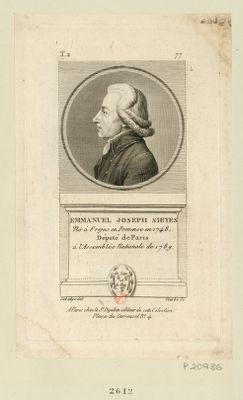 Emmanuel Joseph Sieyes né à Frejus en Provence en 1748 député de Paris à l'Assemblée nationale de 1789 : [estampe]