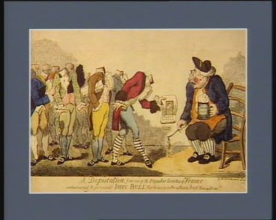 A Deputation from one of <em>the</em> popular societies of France endeavouring to persuade John Bull that he can do better without a head than without one [estampe]