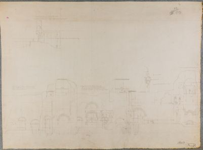 Terme di Caracalla, rilievo delle mura e spaccato di una sala