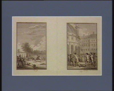 [Charge du prince de Lambesc] [Les Têtes de Foulon et Berthier portées par le peuple à la Halle aux blés] : [estampe]