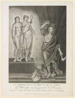 Le  Triomphe de la Raison et de la Vérité la Philosophie sous la figure de J.J. <em>Rousseau</em> découvre à l'univers la Raison et la Vérité, voilée par l'Erreur et le Mensonge : [estampe]