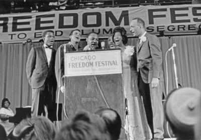 Chicago, IL Freedom Festival, Sidney Poitier, Harry Belafonte, Martin Luther King Jr., Al Raby, Mahalia Jackson 1966