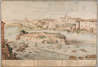 Isola Tiberina, progetto che proponeva di aggregare l'isola al Ghetto disseccando il braccio del Tevere che lambisce il fianco sinistro dell'isola stessa