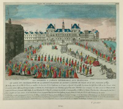 La  Journée a jamais mémorable aux François ou Louis XVI restaurateur de la liberté françoise se rendit à l'Hôtel de Ville le 17 juillet 1789 : M. Bailly maire de la ville de Paris... : [estampe]