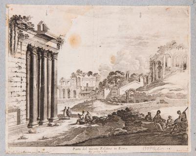 Palatino, fianco a settentrione visto dal pronao del tempio di Antonino e Faustina