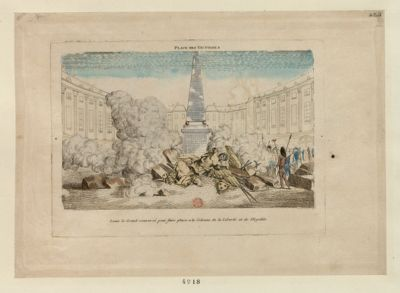 Place des Victoires Louis le grand renversé pour faire place a la Colonne de la Liberté et de l'Egalite : [estampe]